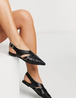 Mazed cutout slingback flat shoes in black