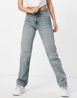 mid rise '90's' straight leg jeans in vintage midwash-Blues