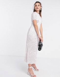 midi dress in crinkle shine polka dot in pink