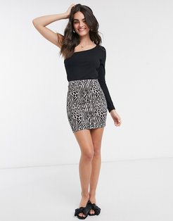 mini pencil skirt in abstract animal print-No color