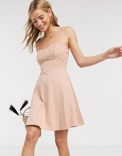 mini square neck sundress with cup seams in beige