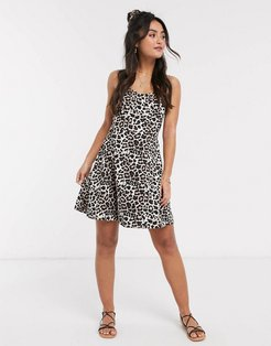 mini sundress with cupped seams in animal print-Brown