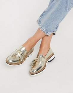 Mist leather tassel loafer in gold