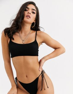 mix and match crinkle bikini crop top with skinny straps in black
