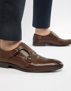 monk shoes in brown leather
