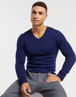 muscle fit merino wool v-neck sweater in navy