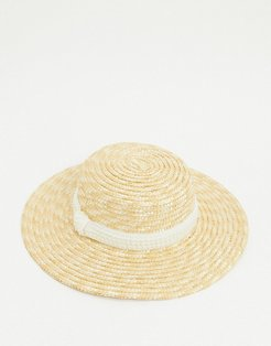 natural straw boater with pearl band and size adjuster-Beige
