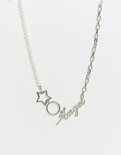 necklace with faux pearl and angel pendant in silver tone