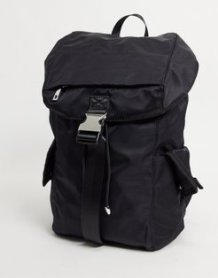 nylon backpack in black with side pockets