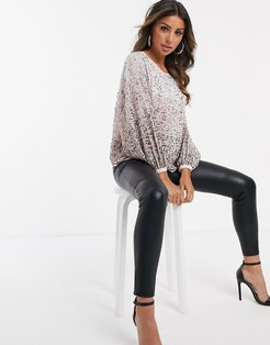 ombre sequin batwing sleeve top-Multi