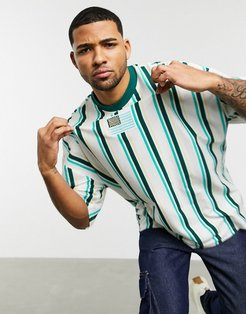 organic cotton oversized longline vertical stripe t-shirt with flag embroidery-Green