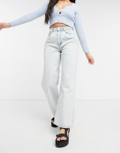 organic high rise 'relaxed' dad jeans with pleat front in acid wash-Blues