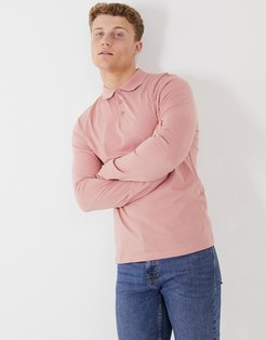 organic long sleeve polo in pink