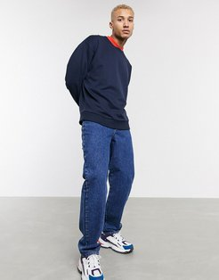 organic oversized sweatshirt in navy with red bomber neck