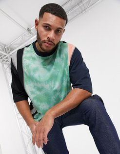 organic oversized t-shirt with half sleeve and contrast wash panel-Multi