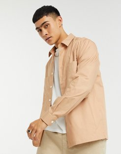 overshirt in coral ripstop-Pink