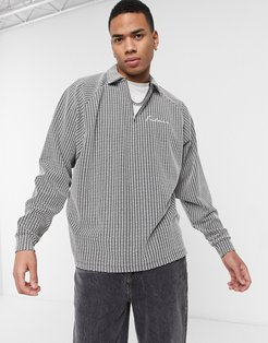 oversized long sleeve textured polo T-shirt in gray with chest embroidery-Grey