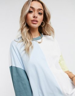 oversized T-shirt dress with half and half color block-Multi
