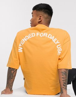 oversized t-shirt in heavyweight jersey with front and back text puff print-Yellow
