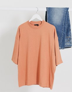 oversized t-shirt with side seam detail in orange marl