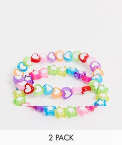 pack of 2 bracelets in rainbow heart and star beads-Multi