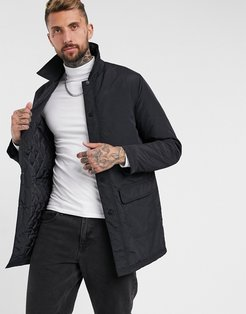 padded trench coat with quilted lining in black