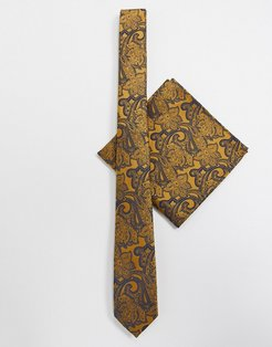 paisley slim tie and pocket square in mustard-Yellow
