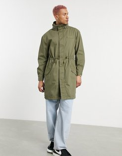 parka jacket with funnel neck in khaki-Green