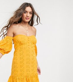 ASOS DESIGN Petite broderie off the shoulder cupped mini sundress with tiered hem in orange