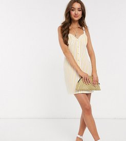 ASOS DESIGN Petite button through cupped sundress in white stripe-Multi