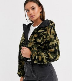 ASOS DESIGN Petite cropped camo fleece jacket-Multi