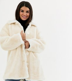 ASOS DESIGN Petite faux fur button through coat in cream-White