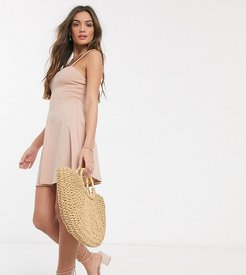 ASOS DESIGN Petite mini square neck sundress with cup seams in nude-Beige