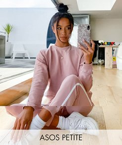 ASOS DESIGN Petite tracksuit sweat / basic jogger with tie with contrast binding in organic cotton in blush-Pink