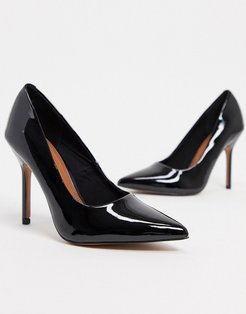 Phoenix pointed high heeled pumps in black patent