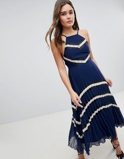 pleated midi skater dress with contrast panel-Multi