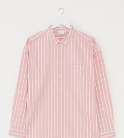 Plus 90s oversized shirt in pink oxford stripe