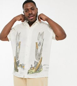 Plus regular camp collar shirt with side placement ship print-Beige