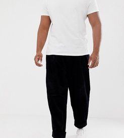 Plus wide balloon pants in black cord with pleats