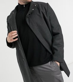 Plus wool mix coat with funnel neck in charcoal-Black