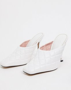 Popeye quilted high heeled mules in white