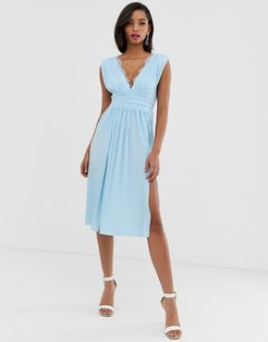 Premium Lace Insert Pleated Midi Dress-Blues