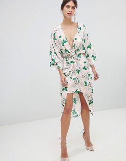 pretty floral satin kimono midi dress-Multi