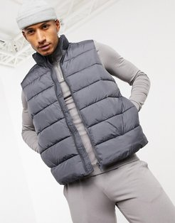 puffer vest in charcoal-Black