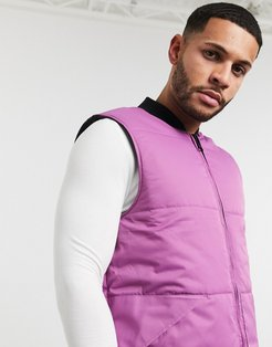 puffer vest in reversible black and purple