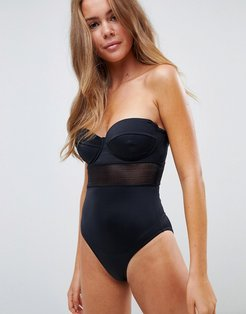 recycled mesh insert underwired cupped swimsuit in black
