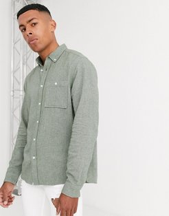 regular fit brushed twill shirt in green