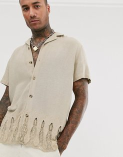 relaxed fit shirt in stone with embroidery hem with revere collar-Beige