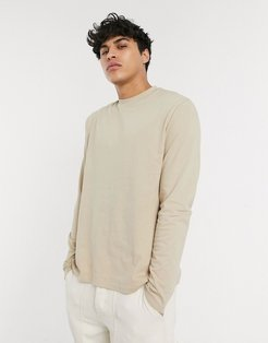 relaxed long sleeve T-shirt set in beige