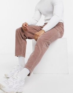 relaxed tapered corduroy jeans in dusty lilac-Purple